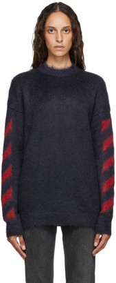 Off-White Navy and Red Mohair Diag Sweater