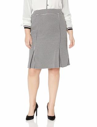Kasper Women's Plus Size Houndstooth Printed Skirt