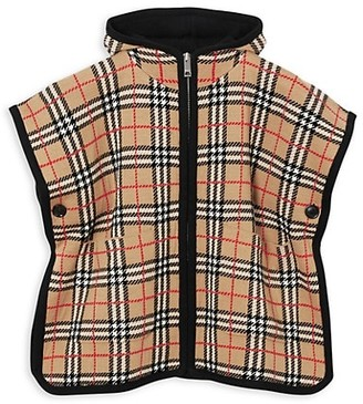 Burberry Girl's Archive Check Hooded Cape