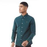 Farah Mens Brewer Slim Button Down Long Sleeve Shirt Bright Emerald
