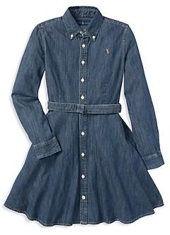 Ralph Lauren Polo Girls' Denim Shirt Dress with Belt - Little Kid