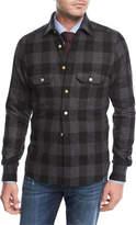 Kiton Large Check Wool-Cashmere Overshirt