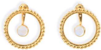 Agnes de Verneuil Circle Pearled Earrings & Stone Ear Jacket- Gold & Rainbow Moonstone