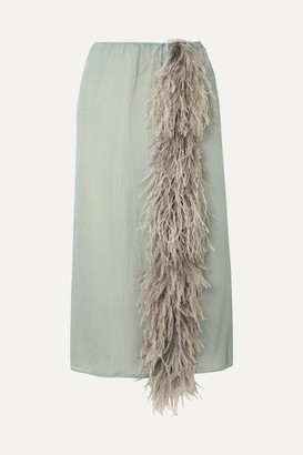 Prada Feather-trimmed Silk-georgette Skirt - Light blue