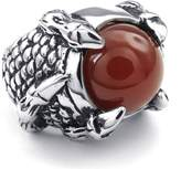 TEMEGO Jewelry Mens Agate Stainless Steel Ring, Gothic Dragon Claw, Red Silver