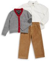 Nautica Boys 2-7 Contrast Sweater, Sportshirt and Corduroys Set