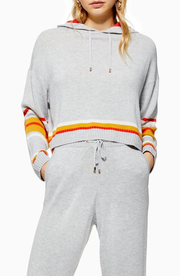 Topshop Stripe Hooded Sweater