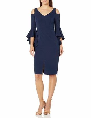 Maggy London Women's Petite Cocktail Sheath with Ruffle Sleeve