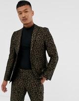 Tux Till Dawn Tux Til Dawn leopard print skinny fit suit jacket-Brown