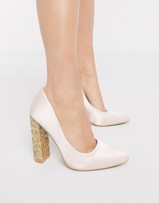 Glamorous satin heels with glitter heel-Pink