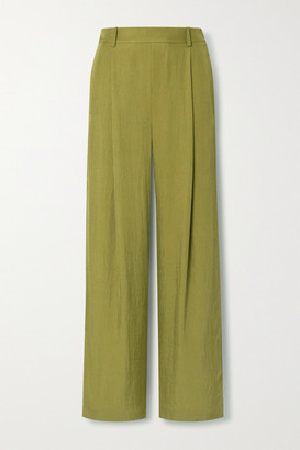 Vince Crepe Wide-leg Pants - Army green