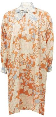 Ephemera - Tie-neck Floral-print Linen Dress - Pink Print