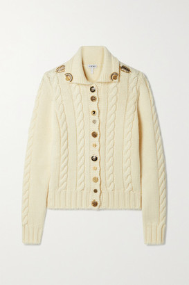 Loewe Embellished Cable-knit Wool Cardigan - Off-white