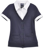 French Toast Big Girls' S/S Blouse/Cardigan Combo Top