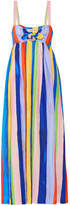 Mara Hoffman Tie-front Striped Organic Linen Maxi Dress - Blue