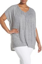Sejour Plus Size Women's Shirred V-Neck Knit Tunic