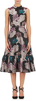 Co Women's Lilac-Pattern Jacquard Belted Dress