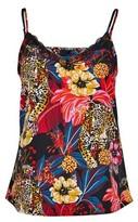 Dorothy Perkins Womens Vero Moda Black Leopard Print Lace Camisole Top, Black