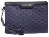 Jimmy Choo 'Derek' embossed star leather mini zip pouch