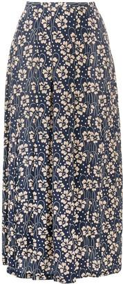 Rixo Floral-Print Midi Skirt