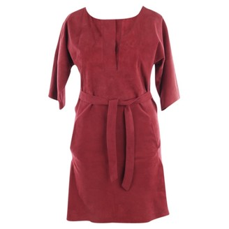 Closed Red Leather Dress for Women