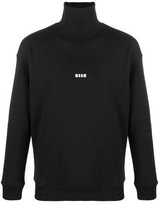 MSGM Roll-Neck Logo Print Sweatshirt