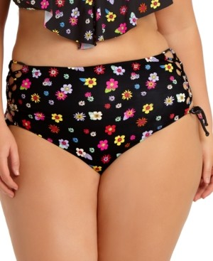 California Waves Trendy Plus Size Floral Side-Lace High-Waist Bikini Bottoms, Created for Macy's Women's Swimsuit