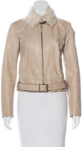 Prada Leather Zip-Front Jacket