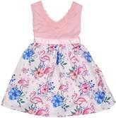 Funkyberry Floral & Flamingo Cotton Dress