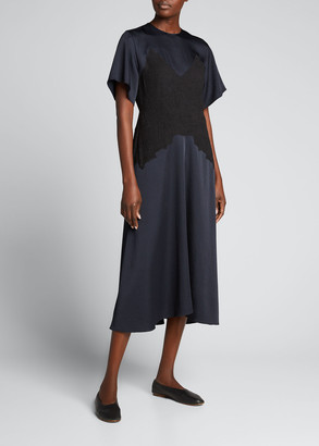 Vince Crinkle Paneled Flutter-Sleeve Midi Dress