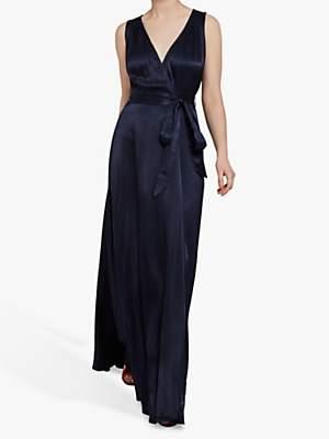 Ghost Lola Satin Wrap Maxi Dress