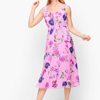 Talbots Georgette Botanical Fit & Flare Dress