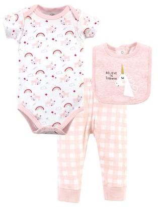 Luvable Friends Baby Girl Bodysuit, Pants & Bib, 3pc Outfit Set