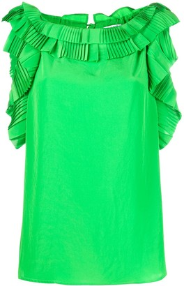 P.A.R.O.S.H. Sleeveless Ruffled Trim Blouse