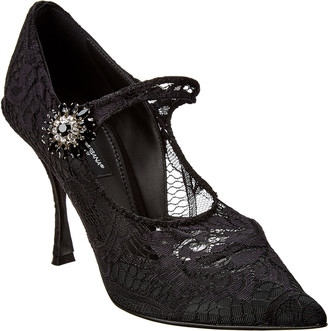 Dolce & Gabbana Mary Jane Lace & Leather Pump