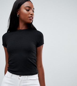 Asos DESIGN Tall slim fit rib t-shirt in black