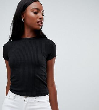 Asos Tall DESIGN Tall slim fit rib t-shirt in black