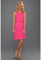 Laundry by Shelli Segal Lace Racerback Sleeveless Dress (Neon Pink) - Apparel