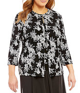 Alex Evenings Plus Floral Printed Twinset