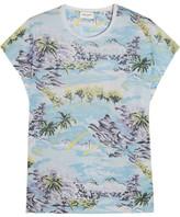 Saint Laurent Printed Cotton-jersey T-shirt - Sky blue
