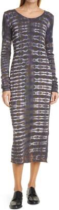 Raquel Allegra Tie Dye Long Sleeve Cotton Midi Dress