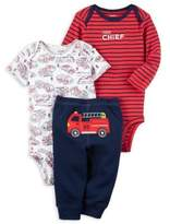 "Carter's Preemie 3-Piece ""Little Chief"" Bodysuits and Pant Set in Navy/Red"