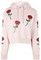 Topshop Sequin Rose Applique Hoodie