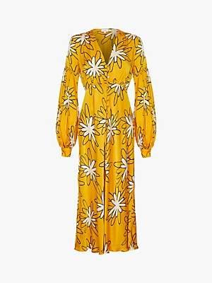 Ghost Lori Daisy Print Satin Maxi Dress, Yellow