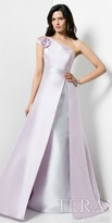 Terani Couture One Shoulder Two Tone Molded Flower Evening Dress