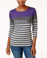 Karen Scott Striped Button-Detail Top, Only at Macy's
