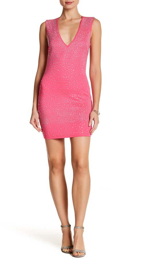 Wow Couture Deep V Plunge Bedazzled Dress