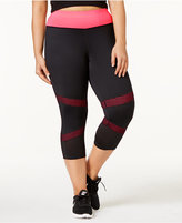 Ideology Plus Size Mesh-Trimmed Cropped Leggings, Only at Macy's