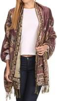 Sakkas 16126 - Liua Long Wide Woven Patterned Design Multi Colored Pashmina Shawl / Scarf - OS