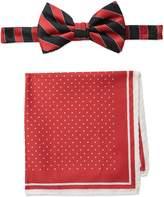 Steve Harvey Men's Satin Stripe Woven Bowtie and Dot Pocket Square